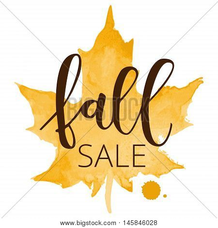 Fall sale white hand written inscription with orange watercolor maple leaf on white background