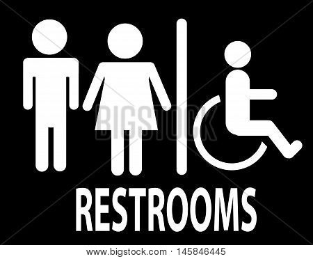 a man and a lady restrooms sign toilet sign on black background