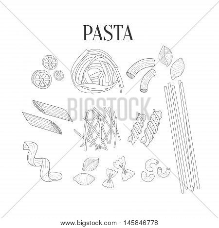 Italian Pasta Assortment Isolated Hand Drawn Realistic Sketches.Hand Drawn Detailed Contour Illustration On White Background.