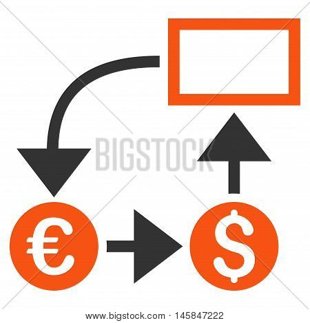 Cashflow icon. Vector style is bicolor flat iconic symbol, orange and gray colors, white background.