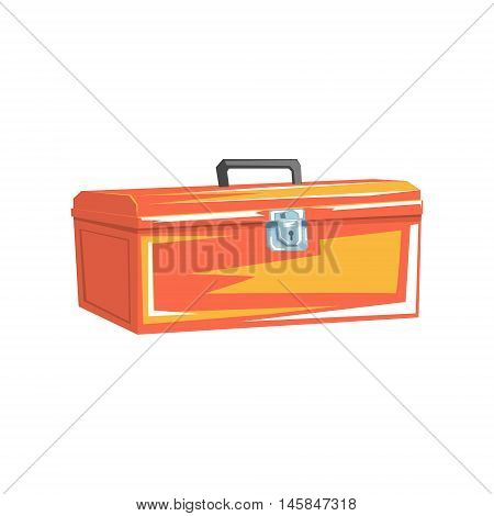 Orange Metal Plumbing Instruments Container Cool Colorful Vector Illustration In Stylized Geometric Cartoon Design Isolated On White Background