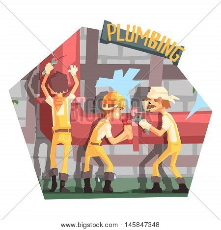 Three Plumbers At Work Funny Scene Cool Colorful Vector Illustration In Stylized Geometric Cartoon Design