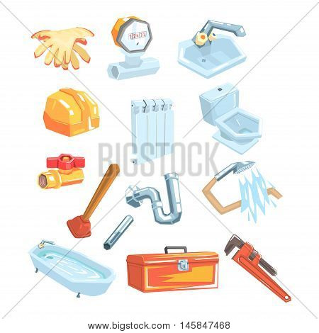 Plumbing Related Instruments And Objects Set Cool Colorful Vector Illustration In Stylized Geometric Cartoon Design On White Background