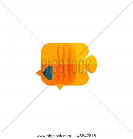 Yellow Angel Fish Primitive Style Childish Sticker. Marine Animal Minimalistic Vector Illustration Isolated On White Background.