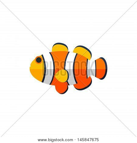 Clown Fish Primitive Style Childish Sticker. Marine Animal Minimalistic Vector Illustration Isolated On White Background.