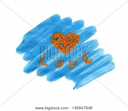Love icon symbol poster word text written on hand drawn watercolor blue background illustration. Love - word on watercolor texture. Romantic poster or greeting card.