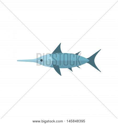 Swordfish Primitive Style Childish Sticker. Marine Animal Minimalistic Vector Illustration Isolated On White Background.