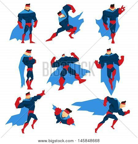 Superhero With Blue Cape In Different Comics Classic Poses Stickers. Stylized Geometric Character With Superpowers Illustrations Isolated On White Background.