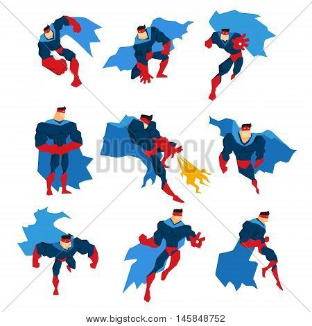 Comics Superhero With Blue Cape In Action Classic Poses Stickers. Stylized Geometric Character With Superpowers Illustrations Isolated On White Background.
