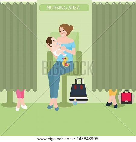 breast feeding lactation room facility public area nursing baby vector