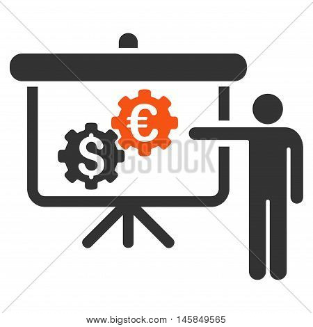 International Industry Presentation icon. Vector style is bicolor flat iconic symbol, orange and gray colors, white background.