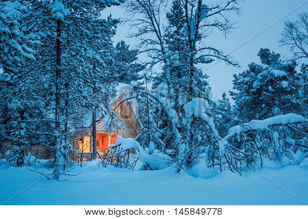 Winter fairy night - wooden cottage with warm lamp light in blue snowy forest, silent cold  winter weather. Seasonal landscape