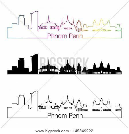 Phnom Penh skyline linear style with rainbow in editable vector file