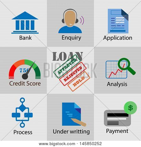 Collection of flat icons for bank loan process