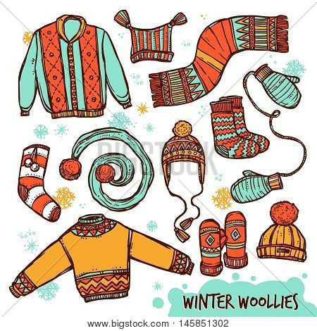 Winter Warm Knitted Clothes Color Set In sketch Style