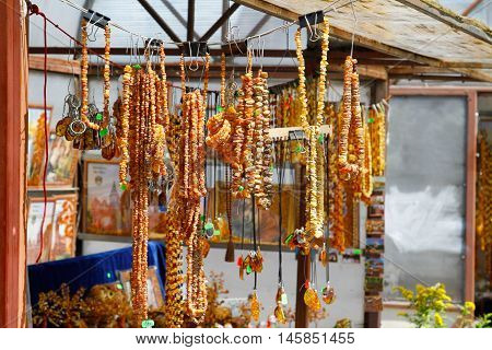 Amber necklaces and souvenirs at the bazaar