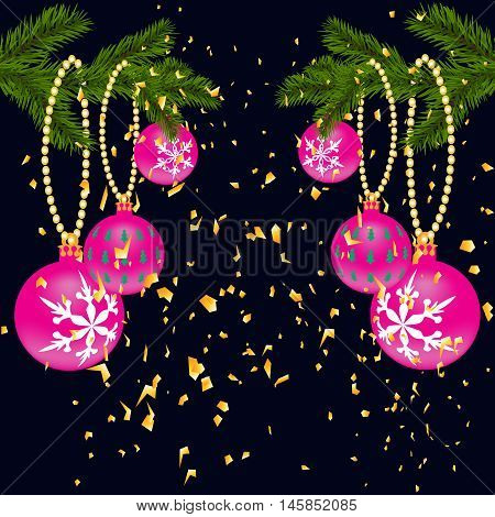 Green lush branch of spruce, with two sides decorated with gold confetti. Spruce branches with red balls. Isolated on a dark blue background. Vector illustration