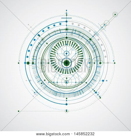 Technical blueprint blue and green vector digital background with geometric design elements circles.