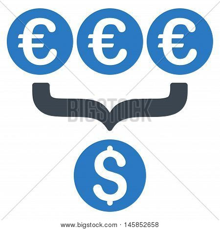 Euro Dollar Conversion Aggregator icon. Vector style is bicolor flat iconic symbol, smooth blue colors, white background.