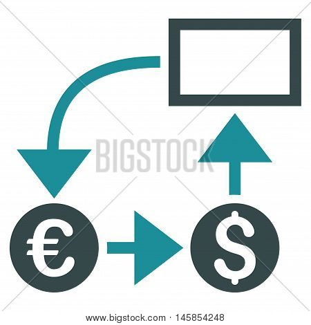 Cashflow icon. Vector style is bicolor flat iconic symbol, soft blue colors, white background.
