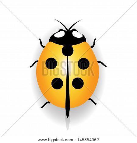Ladybug icon, yellow ladybug with five black dots. Vector illustration