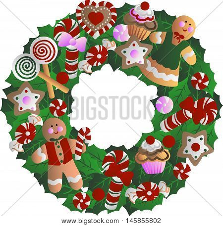 Holly wreath with Christmas decorations - cookies in the form of men, cupcakes, stars, candy, sweets, heart. Hand drawn vector stock illustration