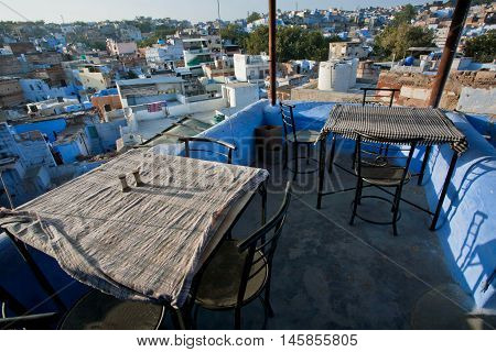JODHPUR, INDIA - JAN 28, 2015: Cityscape from roof top cafe in old house of Rajasthan on January 28, 2015. Jodhpur with population 1290000 people is a center of Marwar region of India