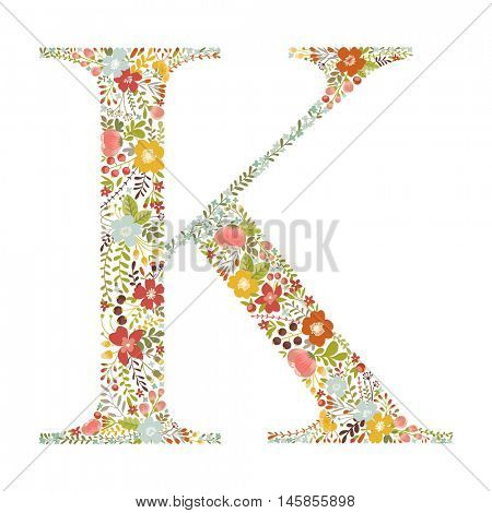 K letter with decorative floral ornament