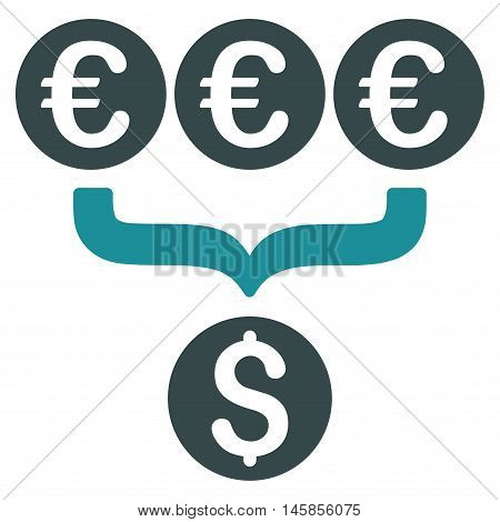 Euro Dollar Conversion Aggregator icon. Vector style is bicolor flat iconic symbol, soft blue colors, white background.
