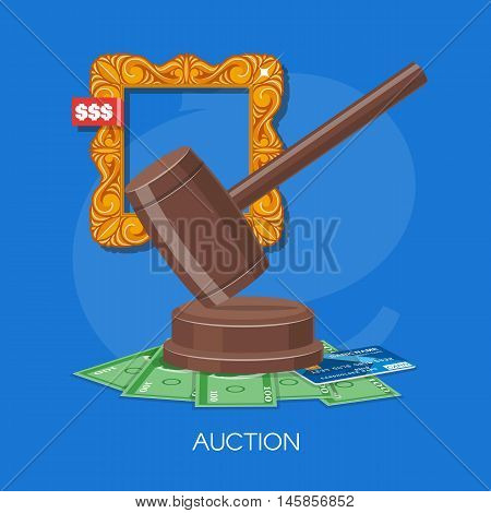 Auction and bidding concept vector illustration in flat style design. Selling arts.
