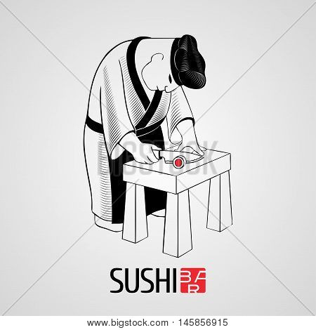 Sushi vector template logo, icon, symbol. Advertising design element, illustration with head-cook cooking at the kitchen for sushi bar, Japanese restaurant menu
