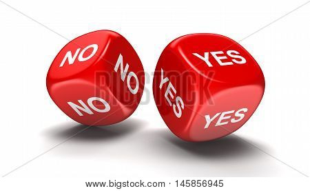 3D Illustration. Dices with yes, no. Image with clipping path
