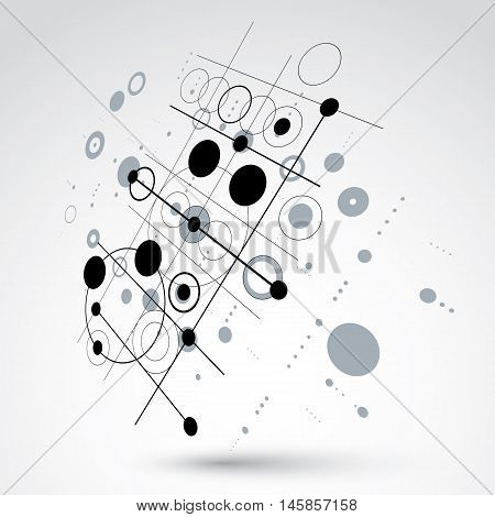 Bauhaus art dimensional composition perspective black and white modular vector backdrop with circles and grid.