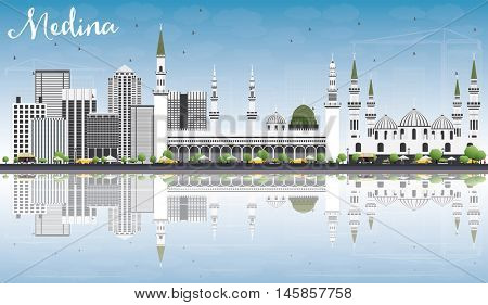 Medina Skyline with Gray Buildings, Blue Sky and Reflections. Vector Illustration. Business Travel and Tourism Concept with Historic Buildings. Image for Presentation Banner Placard and Web Site.