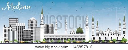 Medina Skyline with Gray Buildings and Blue Sky. Vector Illustration. Business Travel and Tourism Concept with Historic Buildings. Image for Presentation Banner Placard and Web Site.