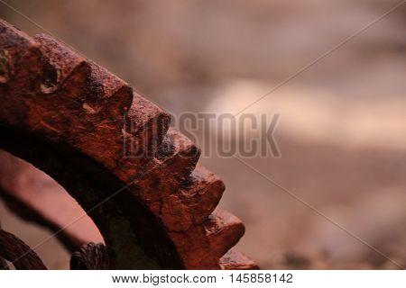 Rusted iron wheal at the coastline in the Faroe Islands