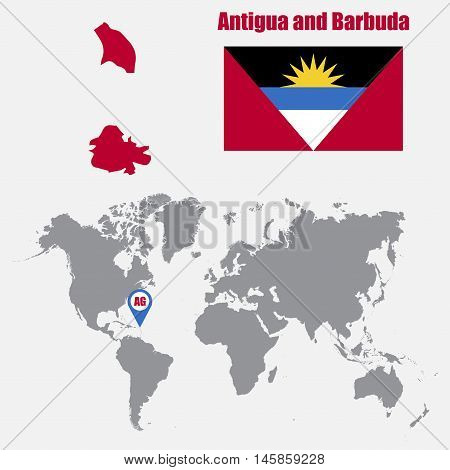 Antigua and Barbuda map on a world map with flag and map pointer. Vector illustration