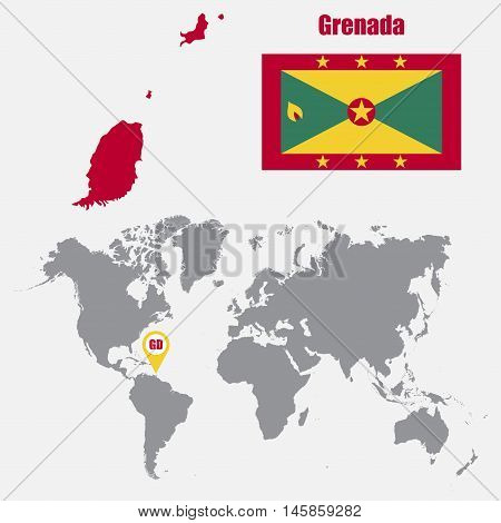 Grenada map on a world map with flag and map pointer. Vector illustration