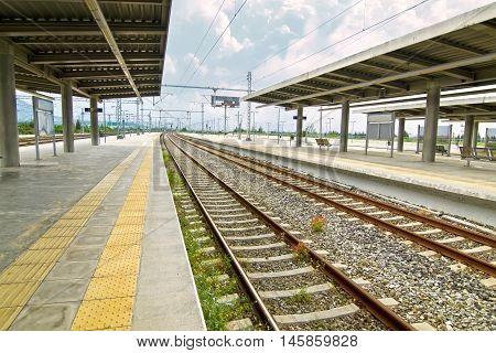 european suburban railway station - european public transportation