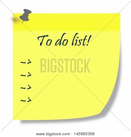 to do list written on yellow post it illustration - duties list concept