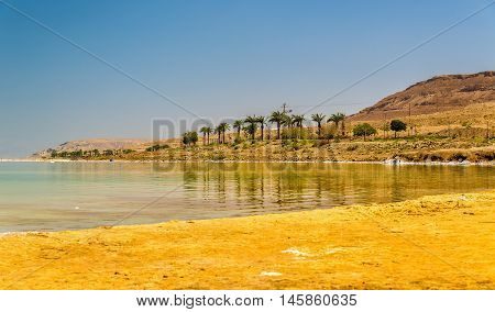 Public beach on the Dead See at Ein Bokek, Israel