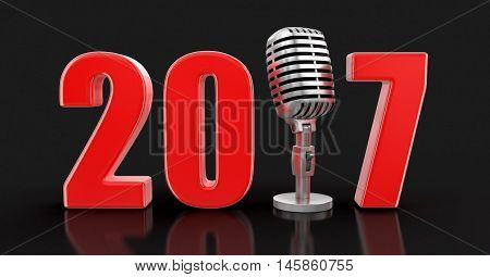 3D Illustration. Microphone with 2017. Image with clipping path