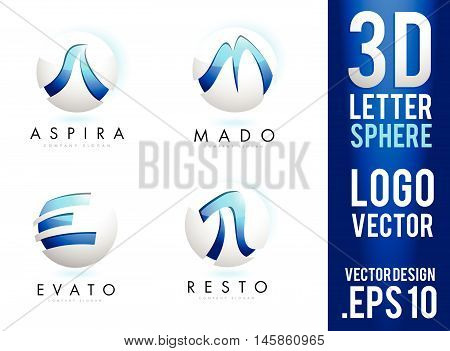3D Letter Sphere Logo Design Vector. Blue Silver 3D Sphere Sphere Vector Gaming Logo