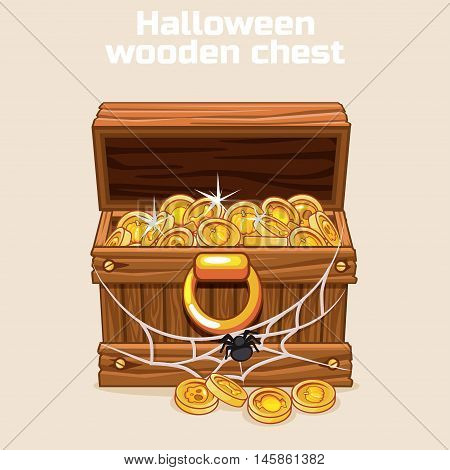 wooden chest with coins on Halloween, and web