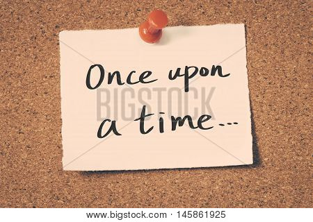 once upon a time note pin on the bulletin board