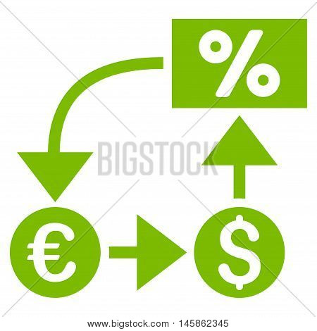 Currency Cashflow icon. Vector style is flat iconic symbol, eco green color, white background.