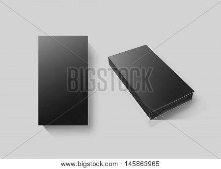 Blank black video cassette tape box mockup set isolated 3d rendering clipping path. Clear vhs cassete case design mock up. Retro tv videotape cover template top side view. Movie casette copy
