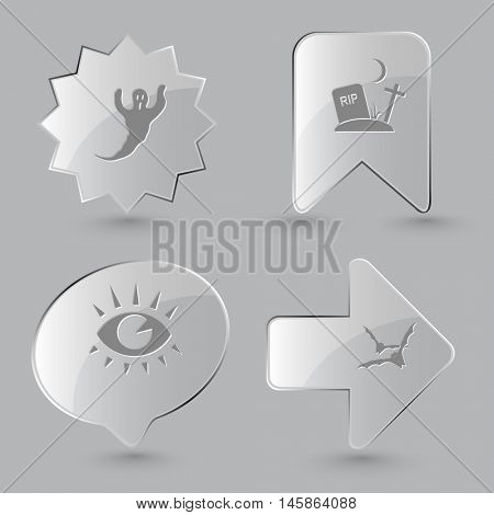 4 images: ghost, rip, eye, bats. Mystic signs set. Glass buttons on gray background. Vector icons.