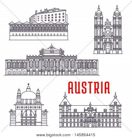 Historic architecture buildings of Austria. Vector thin line icons of Kirche am Steinhof, Ambras Castle, Melk Abbey, Eggenberg Palace, Burgtheater. Austrian showplaces symbols for souvenirs, postcards, decoration