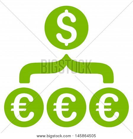 Euro Dollar Conversion Aggregator icon. Vector style is flat iconic symbol, eco green color, white background.